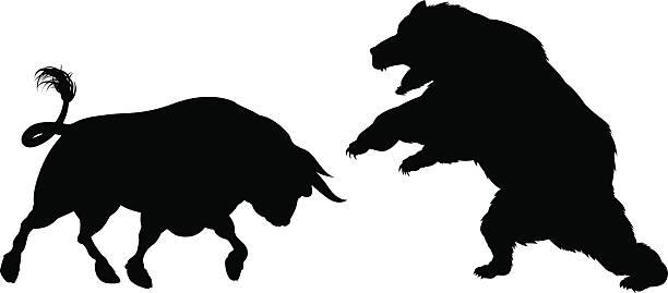 stockillustraties, clipart, cartoons en iconen met bear versus bull silhouette - bullmarkt