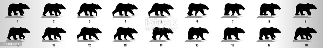 Walking Bear animation sequence, loop animation sprite sheet