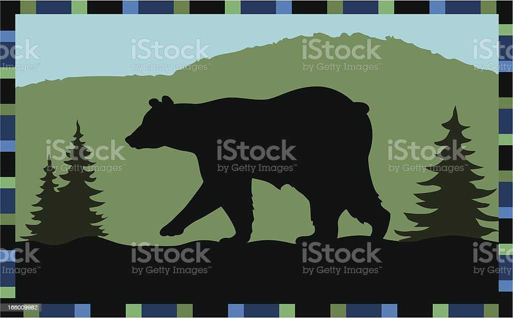 bear walking in front of mountain vector art illustration