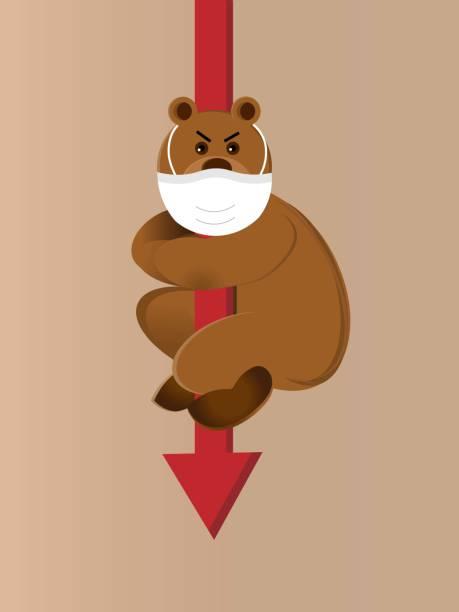 保護マスクを着用したクマは、下がっている矢印につかまっている - corona newyork点のイラスト素材/クリップアート素材/マンガ素材/アイコン素材