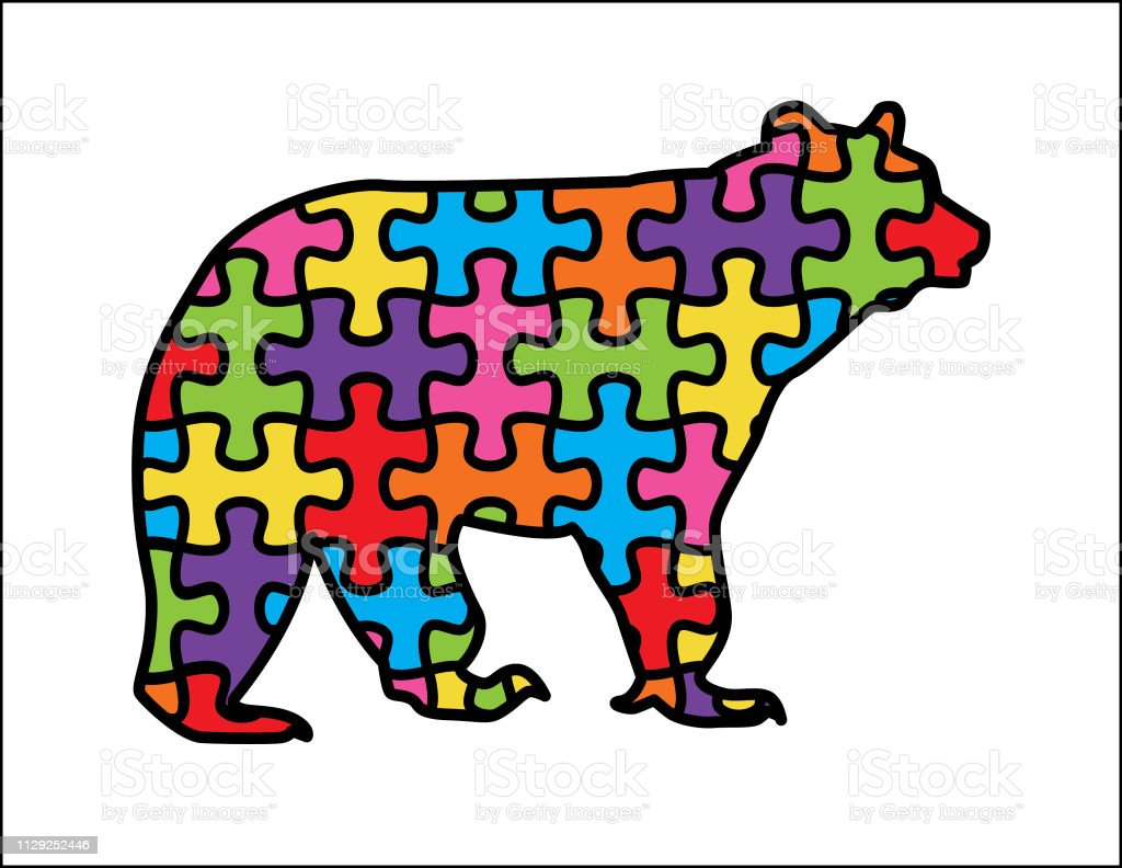 Bear With Autism Puzzle vector art illustration