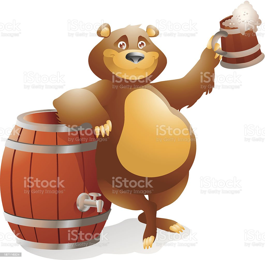 bear with beer vector art illustration
