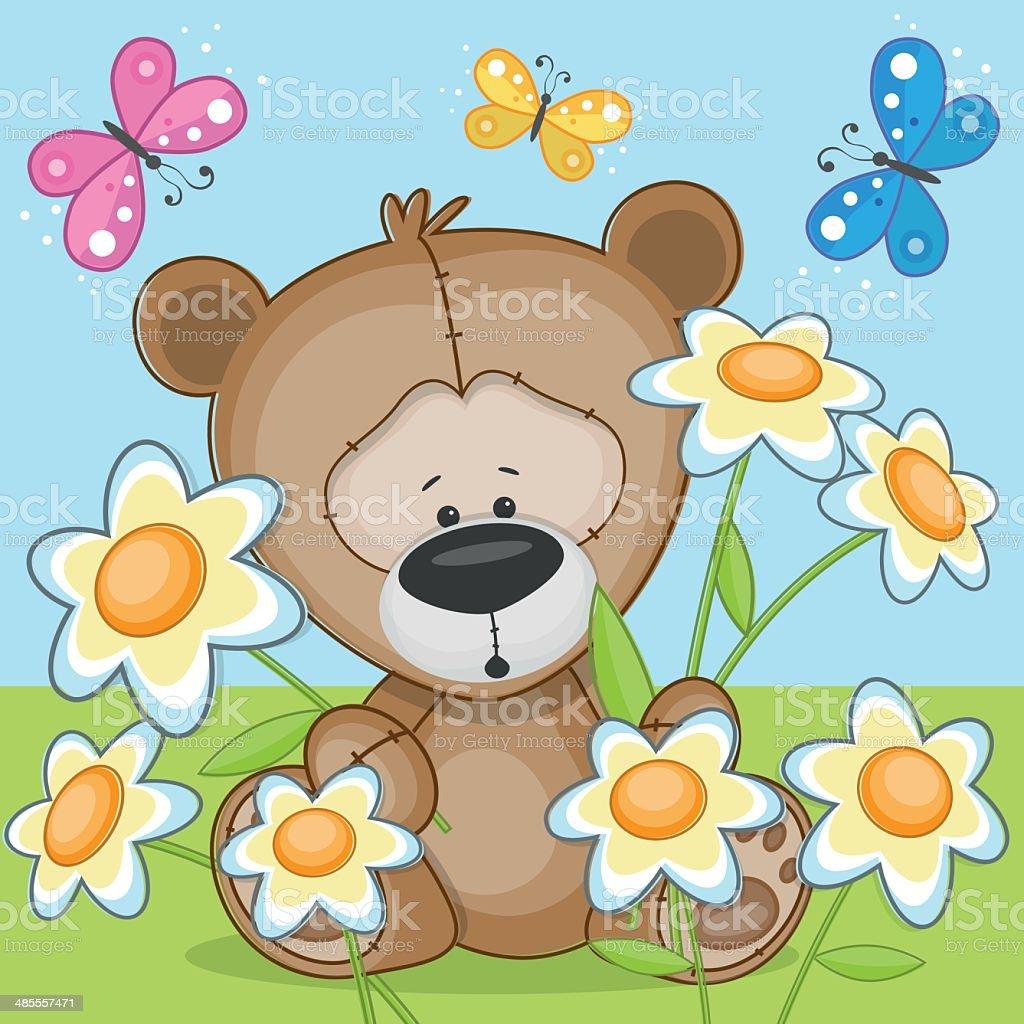 Bear with flowers vector art illustration