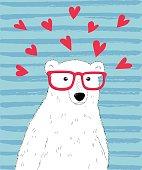 Hipster polar bear. Vector cute polar bear character with hearts. Valentine day card template.