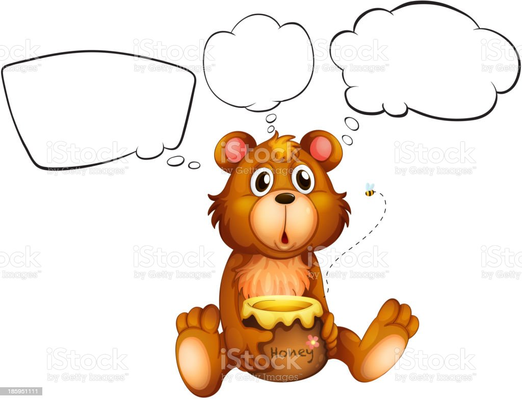 bear with honey and empty callouts royalty-free bear with honey and empty callouts stock vector art & more images of animal