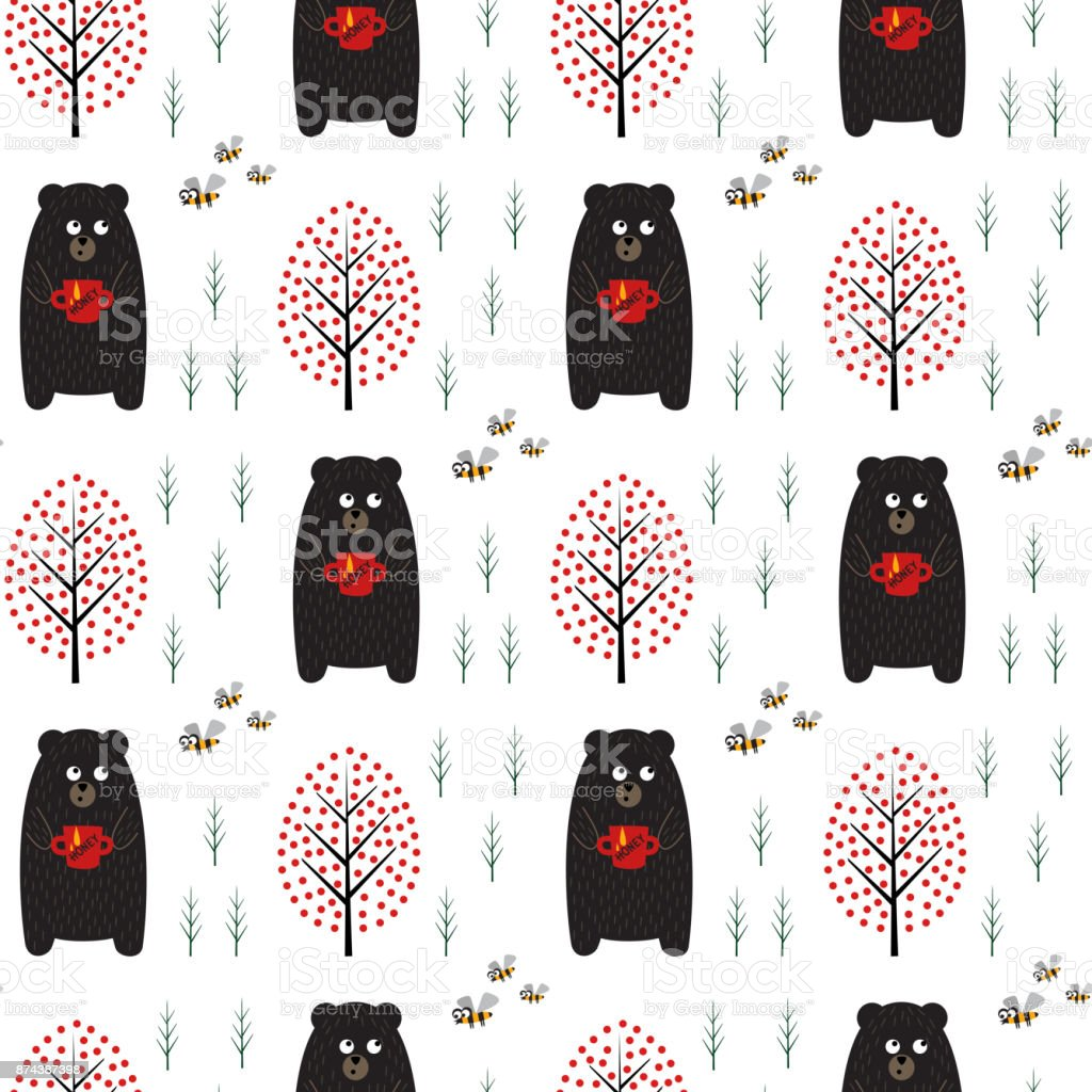 Bear with honey, bees and trees seamless pattern on white background. vector art illustration