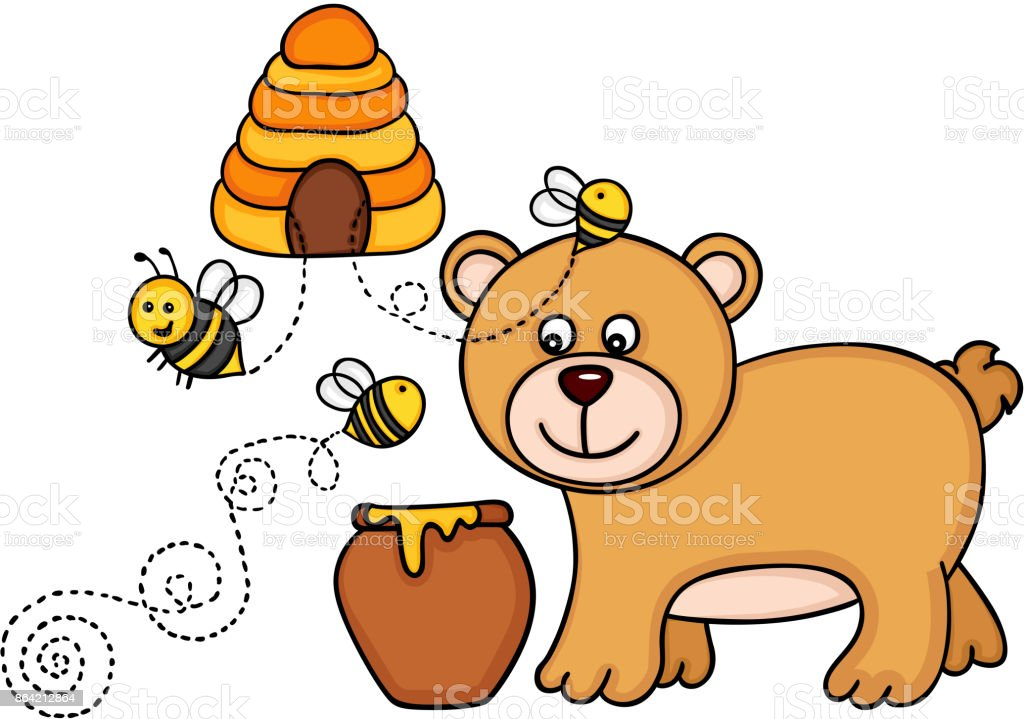 Bear with honey pot and bees fly out of a beehive royalty-free bear with honey pot and bees fly out of a beehive stock vector art & more images of animal