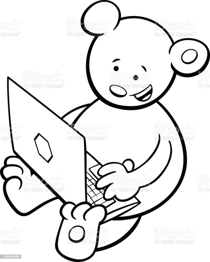 Boyama Kitabı Defter Ile Ayı Stok Vektör Sanatı Animasyon Karakter