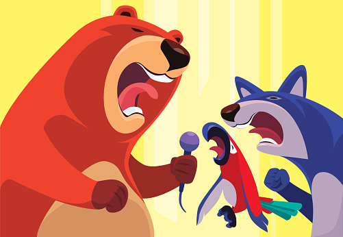 bear wolf and parrot singing