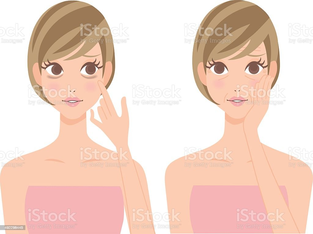 Bear wrinkle woman of eyes, sleeplessness vector art illustration