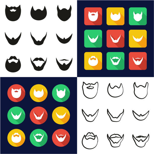 beard all in one icons black & white color flat design freehand set - old man long beard silhouettes stock illustrations, clip art, cartoons, & icons