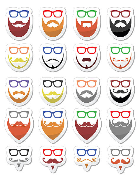 beard and glasses, hipster icons set - old man long beard cartoons stock illustrations, clip art, cartoons, & icons