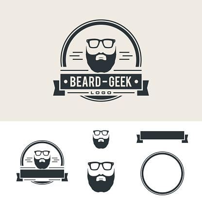 Beard Barber Shop Vintage Emblem Illustration Design. Vector EPS 10.