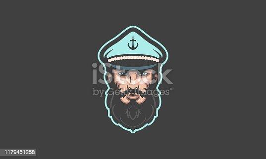 Beard Boat Captain Vector Mascot