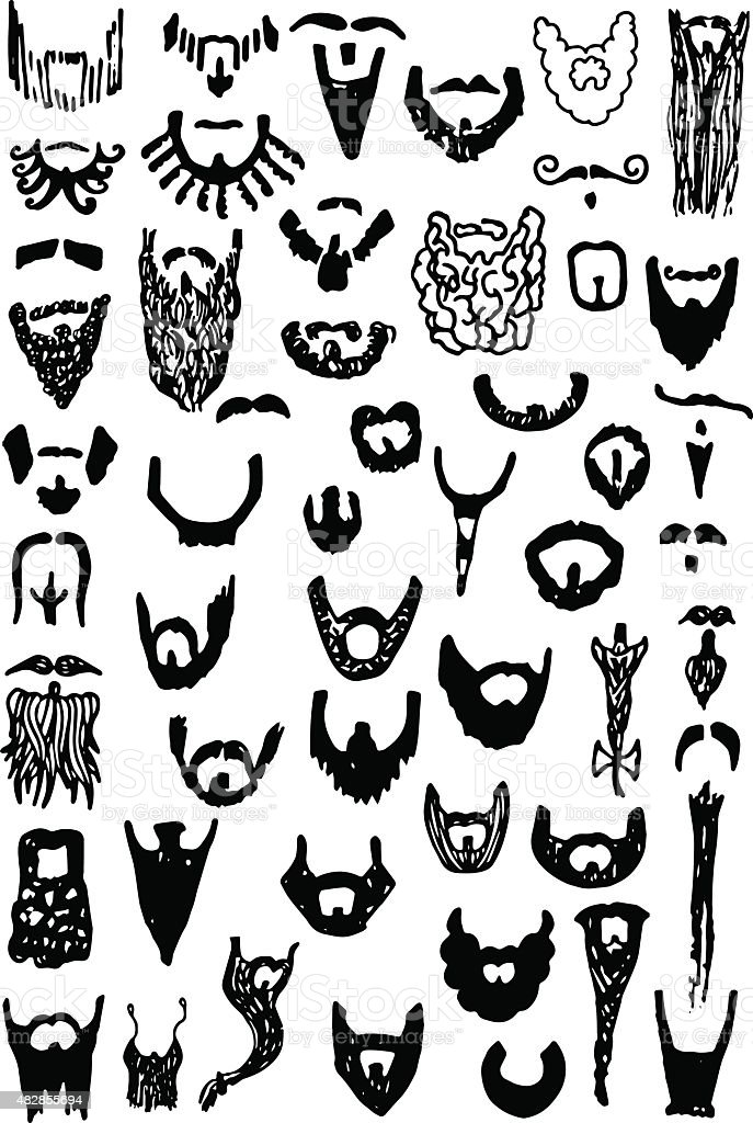 Beard Doodles vector art illustration