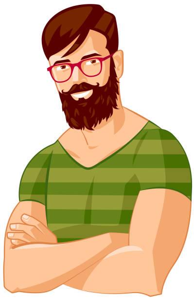 ilustrações, clipart, desenhos animados e ícones de retrato de avatar barba hipster homem - moda urbana