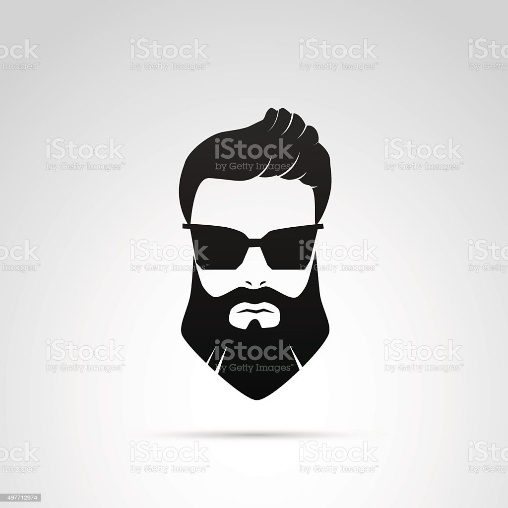 Beard icon isolated on white background. vector art illustration