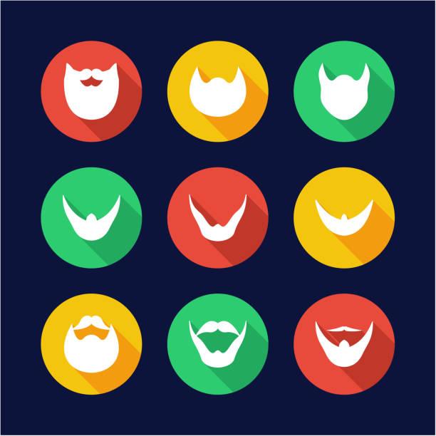 beard icons flat design circle - old man long beard silhouettes stock illustrations, clip art, cartoons, & icons