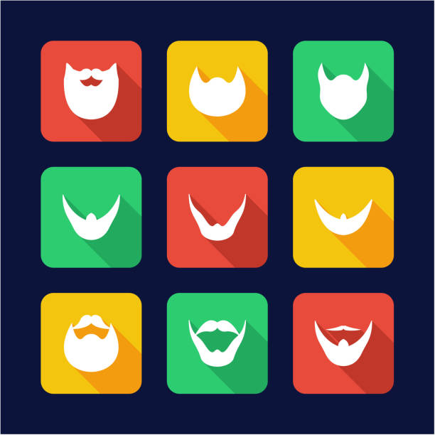 beard icons flat design - old man long beard silhouettes stock illustrations, clip art, cartoons, & icons