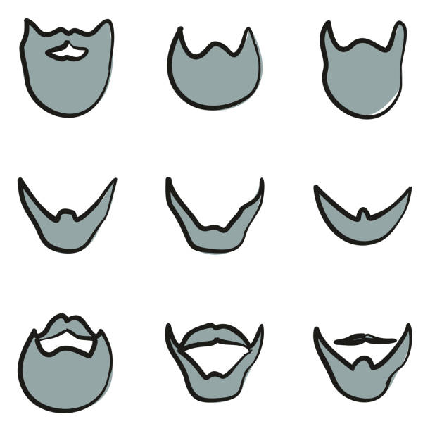 beard icons freehand 2 color - old man long beard silhouettes stock illustrations, clip art, cartoons, & icons