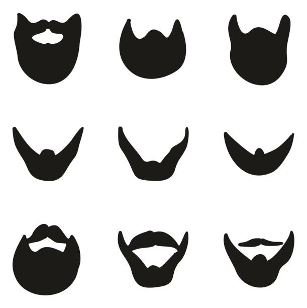 beard icons freehand fill - old man mask stock illustrations