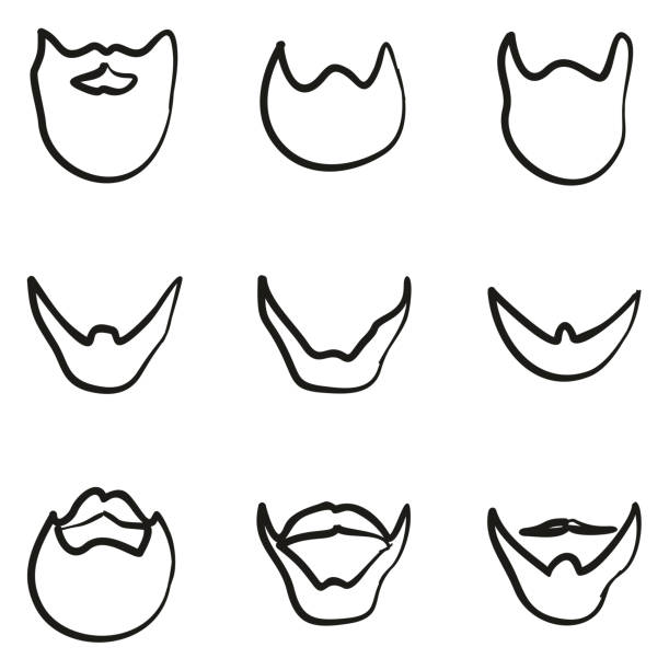 beard icons freehand - old man long beard drawing stock illustrations, clip art, cartoons, & icons