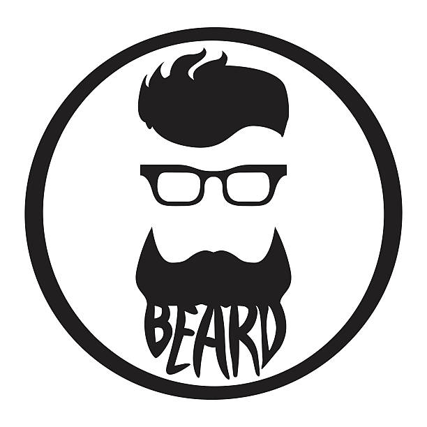 Beard logo template monochrome vector art illustration
