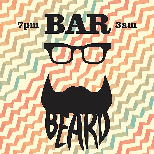 Beard logo template seamless pattern waves background vector art illustration