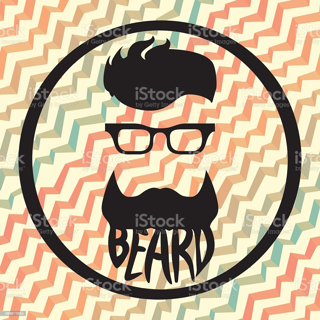 Beard logo template seamless pattern waves background vector art illustration