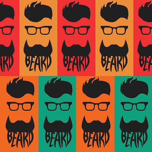 Beard logo template seamless vector art illustration