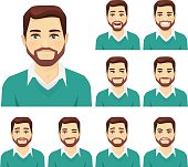 Attractive beard man with different facial expressions set isolated
