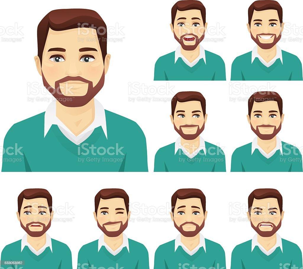 Beard man expression set vector art illustration