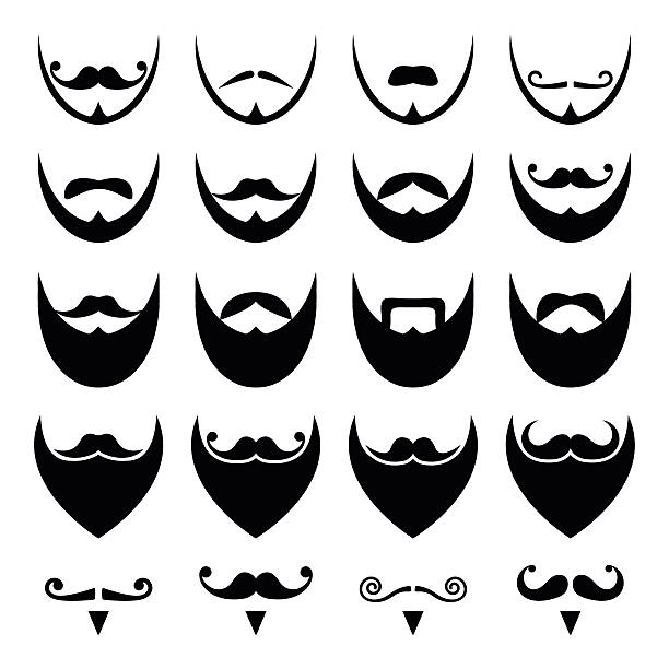 beard with moustache or mustache vector icons set - old man long beard cartoons stock illustrations, clip art, cartoons, & icons