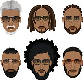 Bearded african men hipsters with different hairstyles.