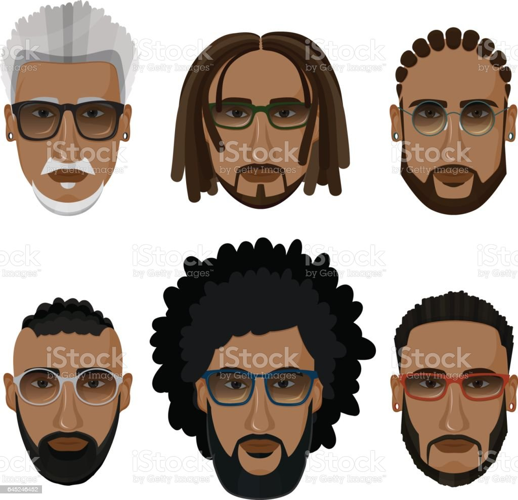 Bearded african men hipsters with different hairstyles. vector art illustration