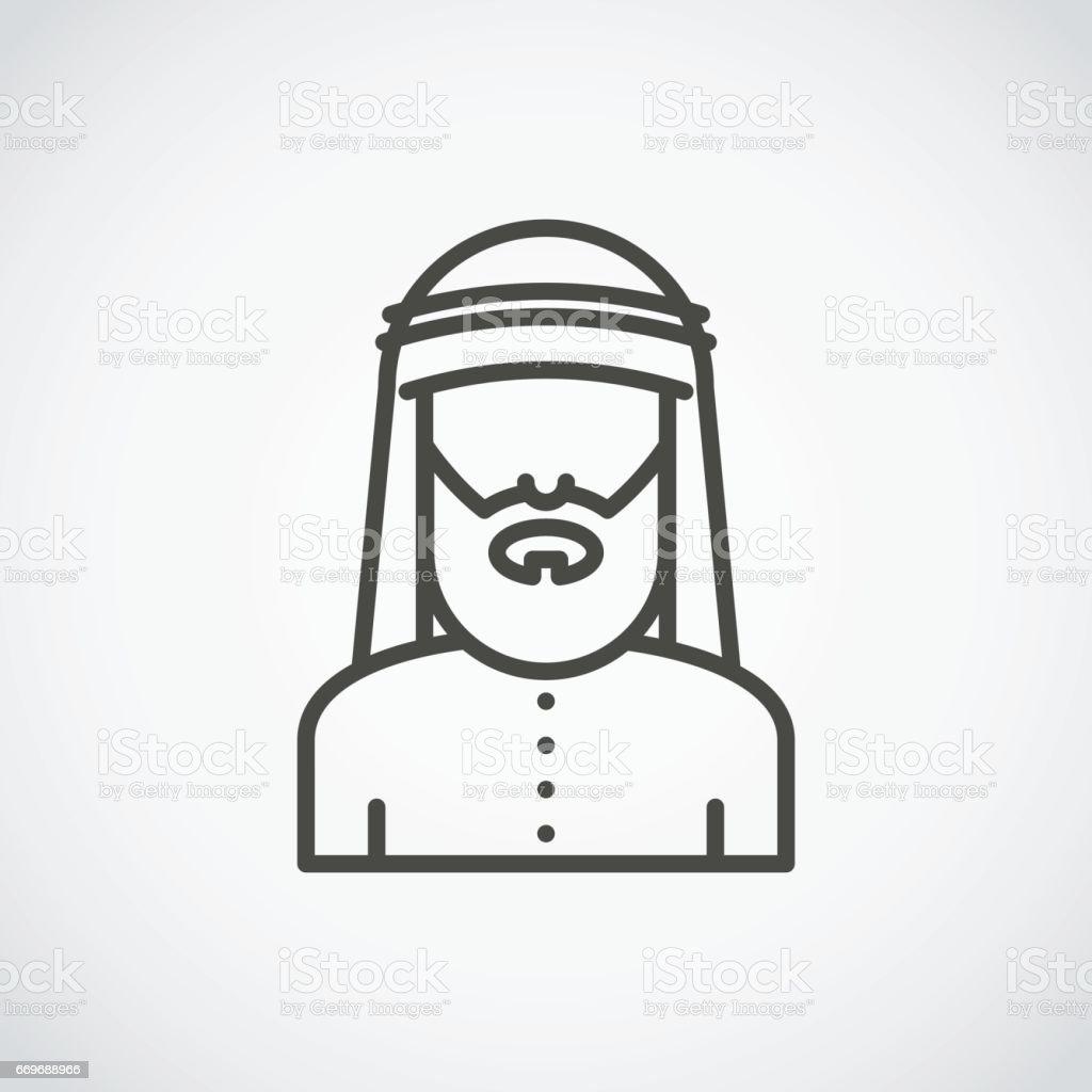 Bearded arabic man in traditional muslim hat. Avatar. Vector Icon vector art illustration