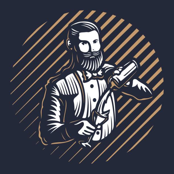 수염 barmen, 바 키퍼 또는 바텐더 작업 실루엣에 셰이 커 로고 디자인 블랙 바탕에-손으로 그린 남자 턱수염과 콧수염 벡터 일러스트 - bartender stock illustrations