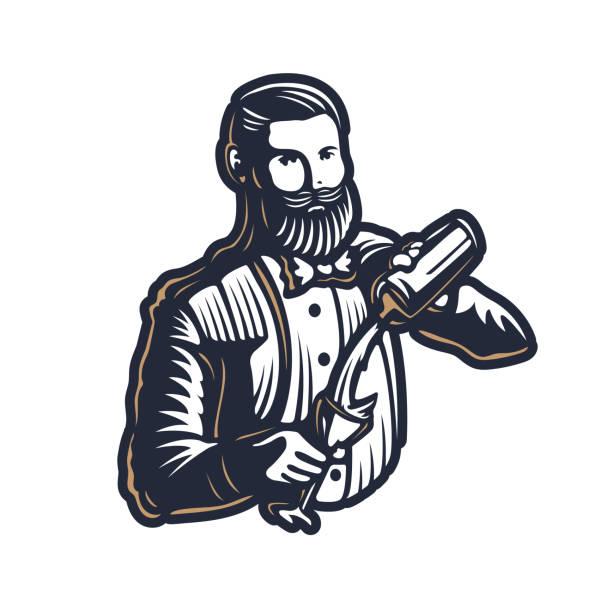 수염 된 barmen, 바 키퍼 또는 바텐더 작업 실루엣에 셰이 커 로고 디자인 흰색 바탕에-손으로 그린 남자 턱수염과 콧수염 벡터 일러스트 - bartender stock illustrations