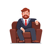 Happy smiling bearded business man sitting on big home arm chair. Successful business boss man resting in comfy armchair. Flat style isolated vector character illustration on white