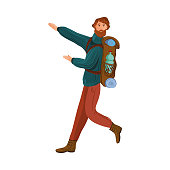 Bearded brown-haired camper in the sweater and brown pants with a backpack shows the way to go. Isolated vector illustration on white background in cartoon style.