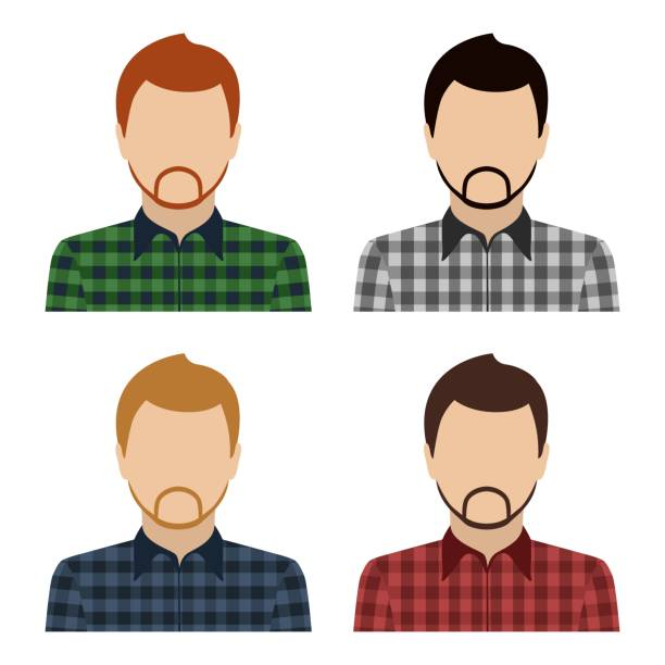 bearded caucasian man in checkered shirt. set of abstract male avatars. vector - plaid shirt stock illustrations