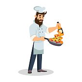 Handsome bearded chef holding frying pan with vegetables in flame in one hand and bottle in other hand. Brunet cook in uniform preparing meal. Restaurant staff. Vector cartoon illustration isolated.