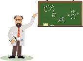 Bearded chemist shows the chemical formula on the blackboard.