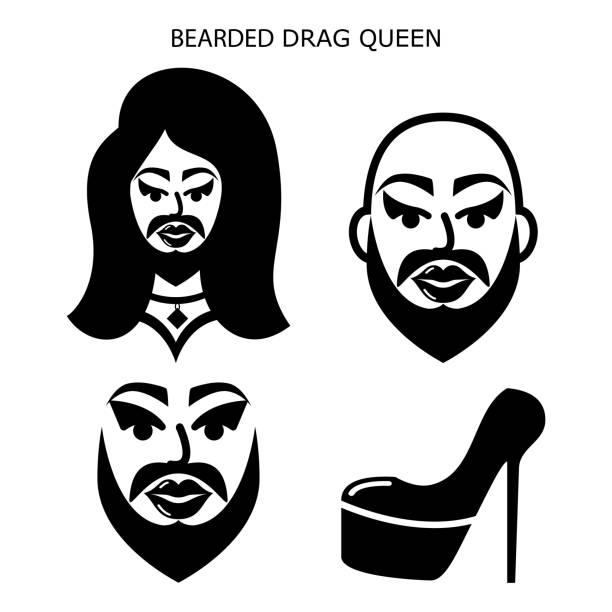 stockillustraties, clipart, cartoons en iconen met bebaarde drag queen vector iconen set, drag show, drag performance, man met baard verkleed als sexy vrouw idee - drag queen