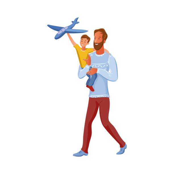 Bearded father holds his son on arms. The boy plays with airplane toy. Vector illustration in flat cartoon style. Bearded brown-haired father holds his son on arms. The boy in a yellow t-shirt plays with a blue airplane toy. Family time concept. Isolated vector illustration on white background in cartoon style human limb stock illustrations