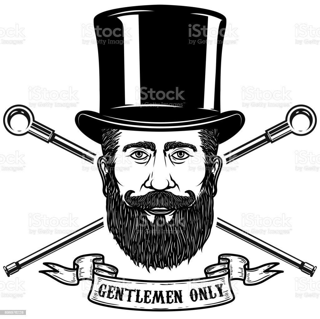 b2ee3039d7dc0e Bearded gentleman head in vintage hat. Design elements for poster, emblem,  sign,