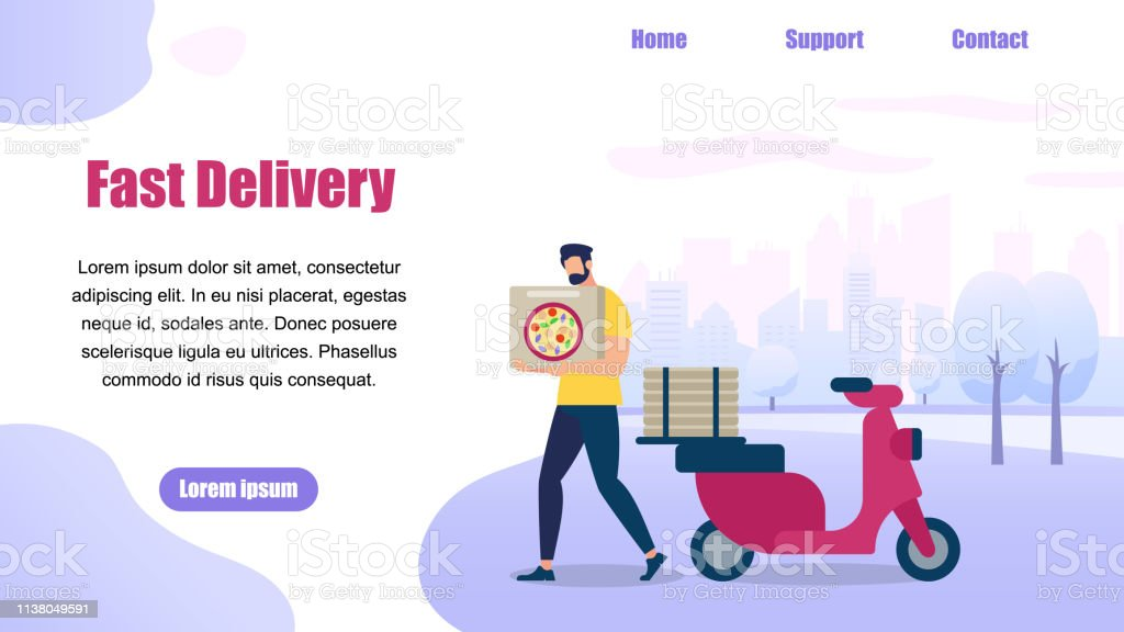 Horizontal Banner with Copy Space. Bearded Guy Delivery Service Order...