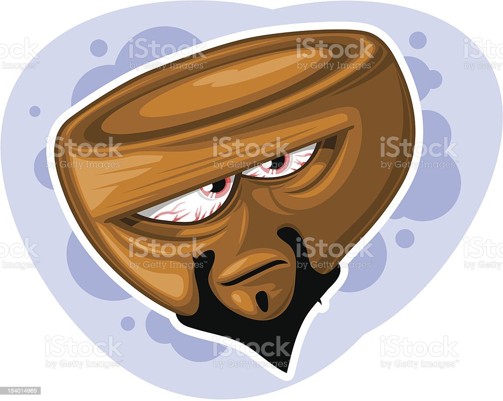 Bearded hazelnut character with red-shot eyes (vector) vector art illustration