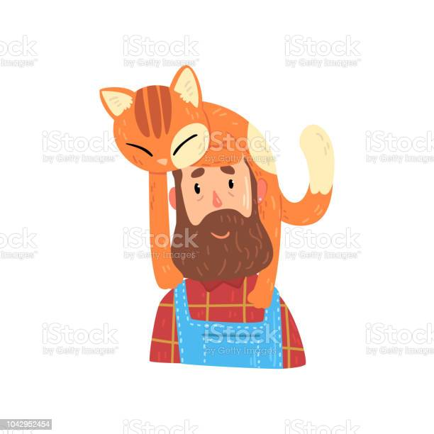Bearded hipster man and his red cat adorable pet sleeping on the head vector id1042952454?b=1&k=6&m=1042952454&s=612x612&h=drf7b5ejrvqeleyccqgdgiwdp27xxbbkg0rqj02efcs=