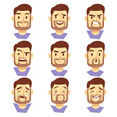 Bearded hipster man character emotions, bearded male heads set. Hipster with beard sad or happy, vector illustration